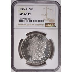 1882-O MORGAN SILVER DOLLAR NGC MS 63 PL