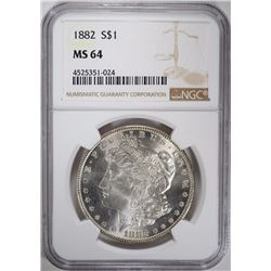 1882 MORGAN SILVER DOLLAR NGC MS 64