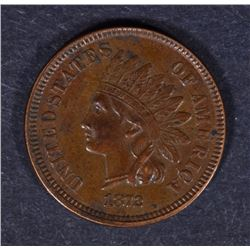 1872 INDIAN HEAD ONE CENT BROWN AU  KEY COIN