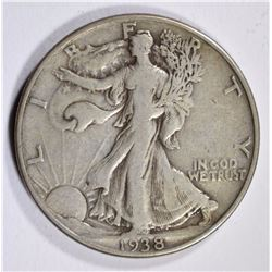 1938-D WALKING LIBERTY HALF DOLLAR VF/XF  KEY COIN