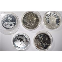 5 - 1 OZ .999 SILVER ROUNDS: 1987 PANDA, 2016 MONEY, 2013 SNAKE,