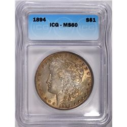1894 MORGAN SILVER DOLLAR ICG MS60  RARE!