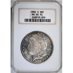 1882-S MORGAN SILVER DOLLAR NGC MS 64 PL  NICE