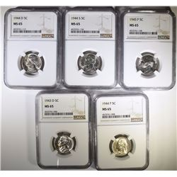 1943-D, 44-P, 44-D, 44-S, & 45-P  SILVER WAR NICKELS, ALL NGC MS-65