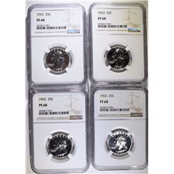 (4) 1963 WASHINGTON QUARTERS, NGC PF-68