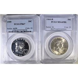 PCGS GRADED FRANKLIN HALF DOLLARS: 1960-D MS-64 FBL & 1959  PR-67