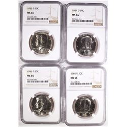 1984-D, 1985-P&D AND 1986-P KENNEDY HALF DOLLARS, NGC MS-66