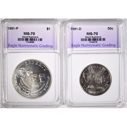 2 PIECE SET 1991 MT RUSHMORE SET PERFECT GEM BU - GRADED BY ENG