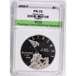2005-P MARINE CORPS PROOF SILVER DOLLAR PERFECT GEM PROOF - GRADED by PCSS