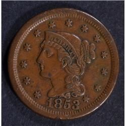 1853 LARGE CENT XF-AU  NICE