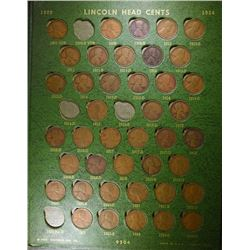 PARTIAL LINCOLN CENT COLLECTION: MISSING 1909-S VDB, 1914-D, 1915-S, 22 PLAIN, &
