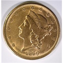 1866-S $20.00 GOLD LIBERTY CHOICE AU  TOUGH  DATE!!