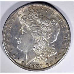 1881-S MORGAN SILVER DOLLAR, CHOICE BU