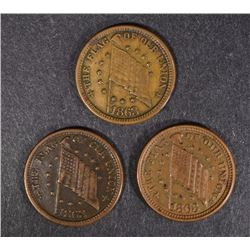 "( 3 ) CIVIL WAR TOKENS: ""FLAG OF OUR UNION"" &  ""SHOOT HIM ON THE SPOT"""