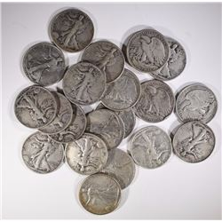 ( 20 ) CIRC WALKING LIBERTY HALF DOLLAR: VARIOUS DATES AND GRADES