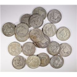 $10 FACE VALUE 90% SILVER FRANKLIN HALF DOLLARS