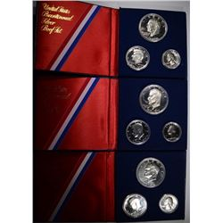 ( 3 )1976 2-PIECE 40% SILVER BICENTENNIAL PROOF SETS IN ORIG PACKAGING