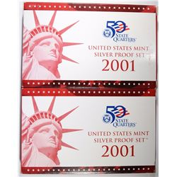 ( 2 ) 2001 U.S. SILVER PROOF SETS IN ORIG PACKAGING
