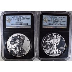 2013-W AMERICAN SILVER EAGLE 2-PIECE WEST POINT SET;  NGC PF-70 & SP-70