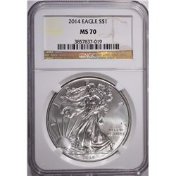 2014 AMERICAN SILVER EAGLE, NGC MS-70