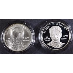 1998 KENNEDY 2-PIECE  COMMEM SET: PROOF & UNC SILVER DOLLARS IN ORIGINAL BOX/COA