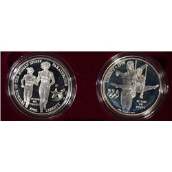 1995 OLYMPIC 2-COIN PROOF COMMEM SET BLIND RUNNER & GYMNAST SILVER DOLLARS