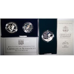 1991 KOREAN WAR SILVER DOLLAR & 1994 WORLD CUP 2-Pc Pf COMMEM SETS/ORIG BOX/COA
