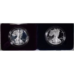 1993 & 2010 PROOF AMERICAN SILVER EAGLES - WITH BOX/COA