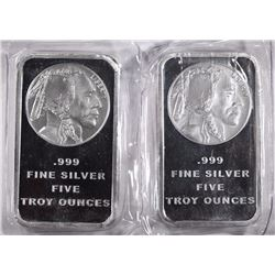 2-FIVE OUNCE .999 SILVER BARS INDIAN/BUFFALO