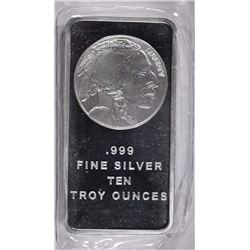 TEN OUNCE .999 SILVER BAR INDIAN/BUFFALO