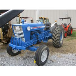FORD 5000 FARM TRACTOR, - 3E PTH, PTO, 1 REMTOE, 16.9-30 TIRES, METER READING 1,372 HOURS