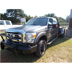 2012 FORD F350 LARIAT FLAT BED TRUCK, VIN/SN:1FT8W3DTXCEC25542 - 4X4, CREW CAB, FORD POWER STROKE DI