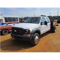 2005 FORD F450 FLATBED TRUCK, VIN/SN:1FDW46P55EC07286 - S/A, CREW CAB, POWER STROKE DIESEL ENG, A/T,