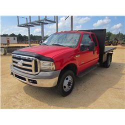 2005 FORD F350 DUMP, VIN/SN:1FDWX37P25EA21691 - S/A, EXTENDED CAB, FORD POWER STROKE DIESEL ENG, 5 S