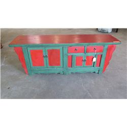 """Antique Red/Green Altar Chest w/Crackle Finish - Qing Dynasty, 2 Drawers, 4 Doors, 62"""" L x 16.5"""" Dep"""