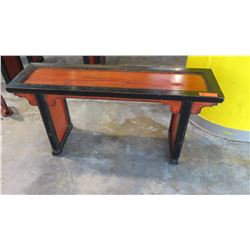 """Antique Red/ Black Lacquer Narrow Side Table - Qing Dynasty 44"""" L x 12"""" Depth, 21"""" H"""