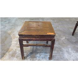 "Antique Weathered Square Side Table - Qing Dynasty 19th Century, 21"" L x 21"" Depth, 21"" H"