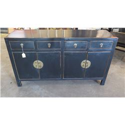 """Antique Black Lacquer Sideboard - Qing Dynasty, 63"""" L x 18"""" Depth, 36"""" H"""