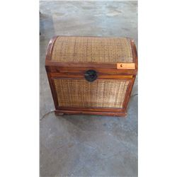"""Rattan Chest w/Wood Frame - Curved Lid, Hardware 44"""" L x 12"""" Depth, 21"""" H"""