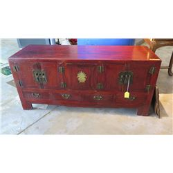 "Antique Altar Chest w/Vibrant Lacquer Finish - Qing Dynasty, 56.5"" L x 19.5"" Depth, 25.5"" H (some su"