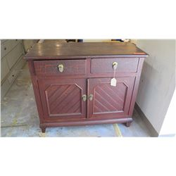 """Antique Chest/Cabinet w/Crackle Overlay - Qing Dynasty, 2 Drawers, 4 Doors, 57"""" L x 17"""" Depth, 31.5"""""""