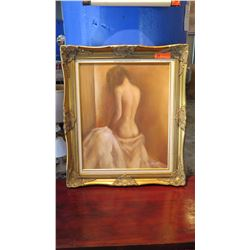 """Framed Original Painting on Canvas - Nude Woman Bathing (signed M. Hanold) 26.5""""L x 30.5"""" H"""