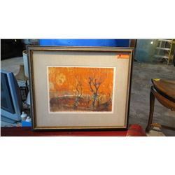 "Framed Original Art - ""Clissold Church"", Abstract White on Orange, Signed Helena Markson, 30.5"" L x"