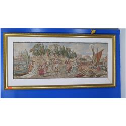 "Large Framed Embroidery/Tapestry Depicting Grand Canal Regency Era 89"" L x 43.5"""