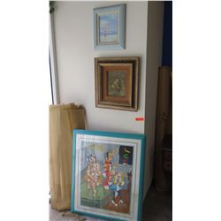 """Qty 3 Framed Original Paintings on Canvas: Lrg Abstract (Cubist) 31""""L x 36.5"""" H, Owl, Woman at Beach"""