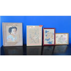 Qty 4 Framed Original Pastel/Watercolor Artwork - Girl, Peonies, Cherry Blossoms  (some water damage