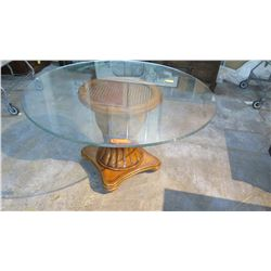 "Large Round Glass Table w/Carved Wooden Pedestal Base, Woven Rattan Center 54"" Dia, 29.5"" H"