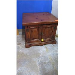"""Square Side Table w/Cabinet - Solid Wood, 28"""" L x 28"""" Depth, 22"""" H"""