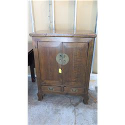 "Antique Cabinet w/Carved Legs, Dark Stain Finish- Quing Dynasty 35.5"" L x 17"" Depth, 46.5"" H (Some W"