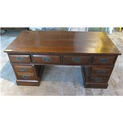 "3-Piece Antique Mini Table/Desk w/Dual Façade Drawers - Dark Finish, Quing Dynasty 53.5"" L x 27.5"" D"